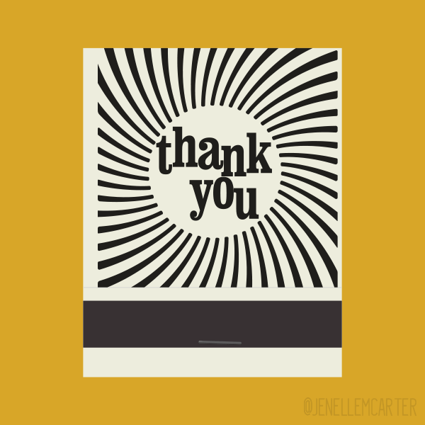 thank you Spiral Matchbook Cover