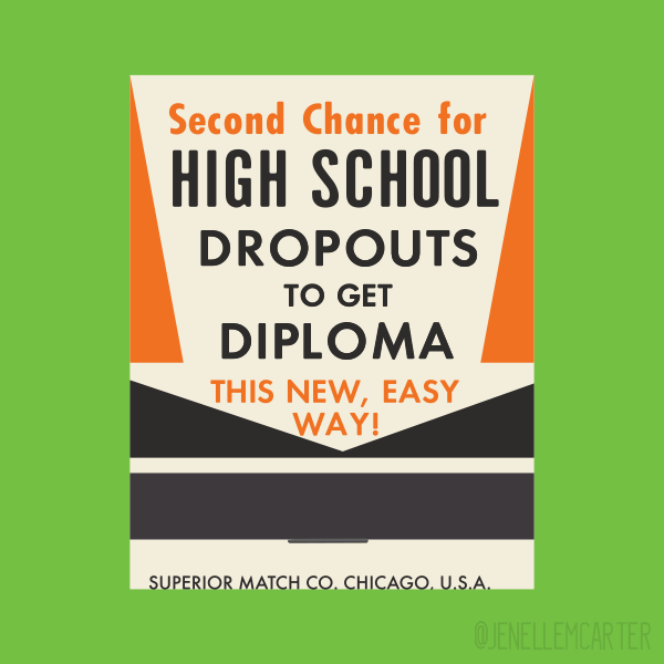 Second Chance for High School Dropouts Matchbook Cover
