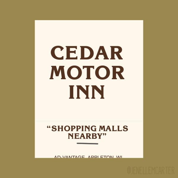 Cedar Motor Inn Matchbook Cover