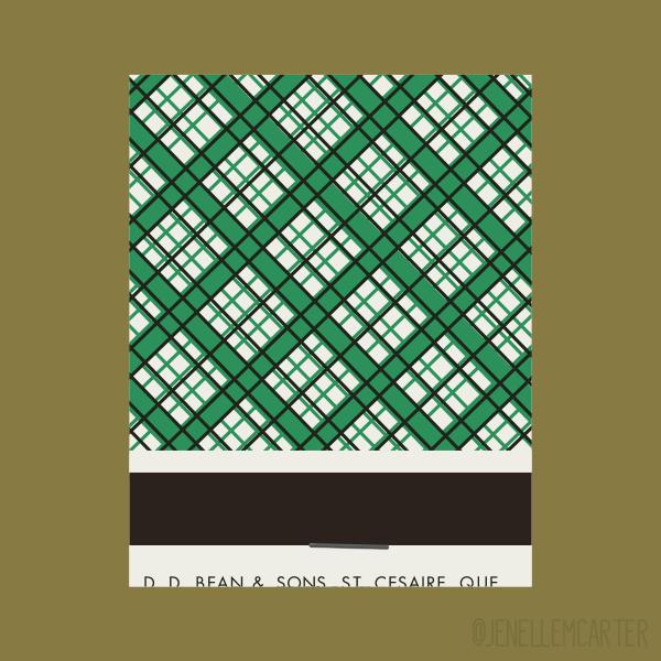 Green Plaid Matchbook Cover