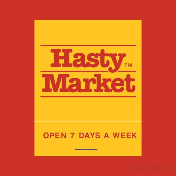 Hasty Market Matchbook Cover